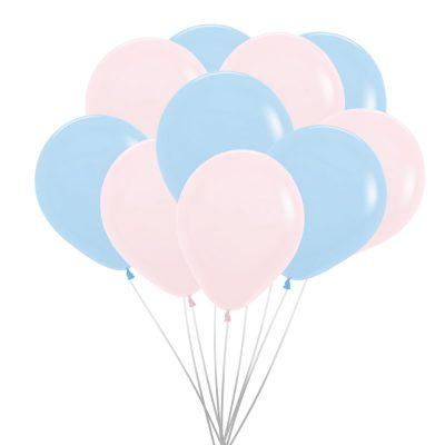Ballonnen (10 st.) - pastel matte, roze en blauw
