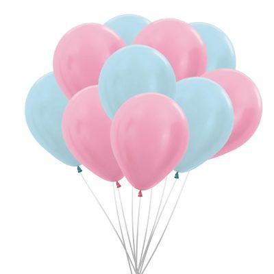 Ballonnen (10 st.) - Pearl, roze en blauw