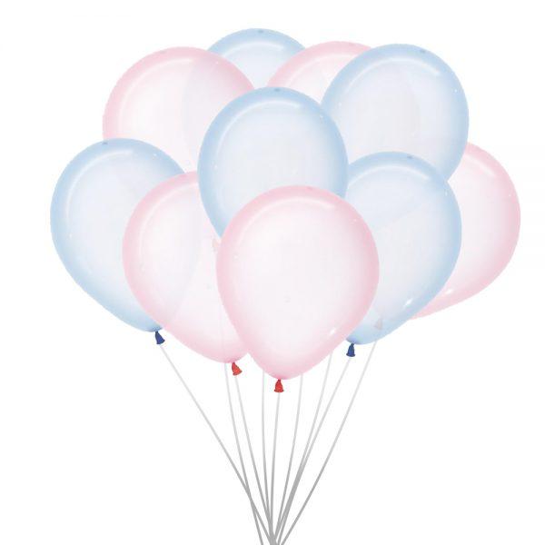 Ballonnen (10 st.) - Clear, roze en blauw