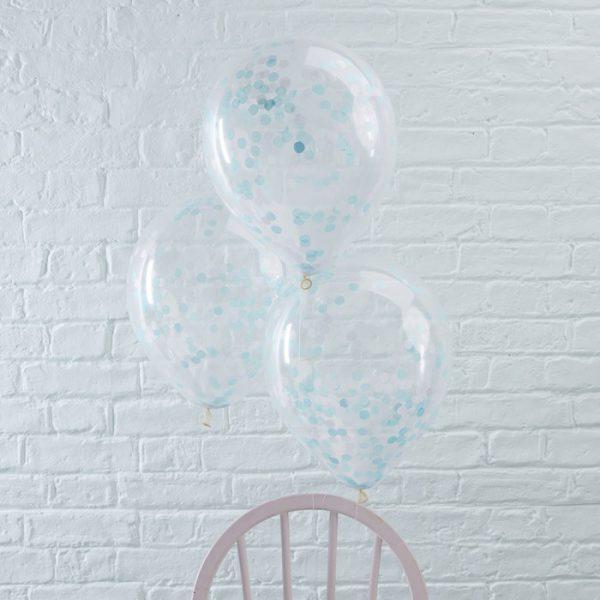 Confetti ballonnen (5 st.) - blauw