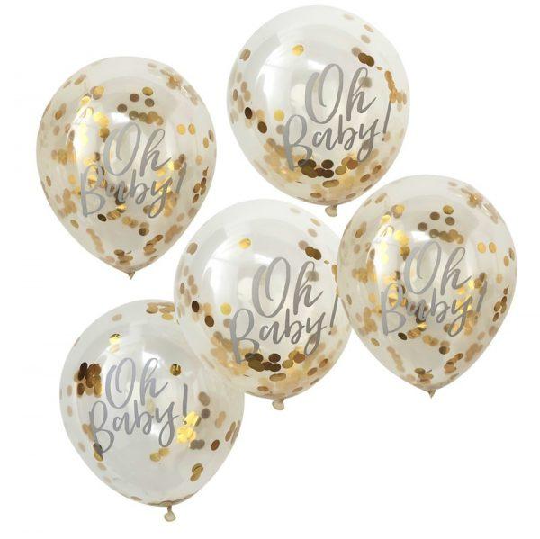 Confetti ballonnen (5 st.) - goud