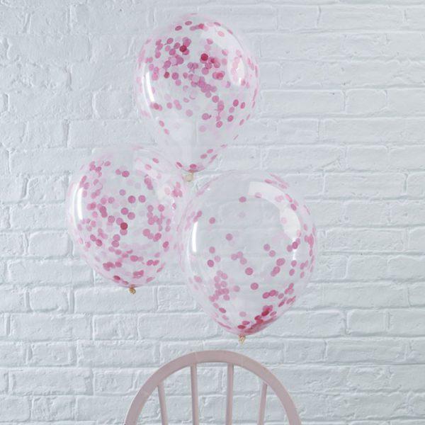 Confetti ballonnen (5 st. ) - roze