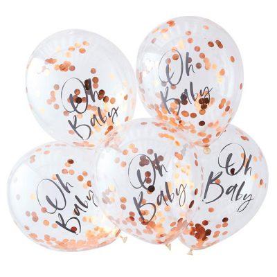 Confetti ballonnen (5 st.) - rosegoud