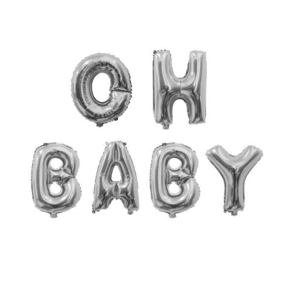 Oh Baby ballon - zilver