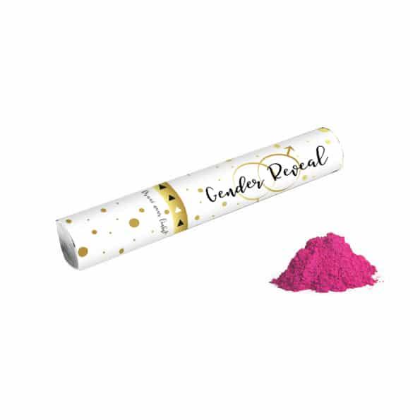 gender reveal poederkanon roze
