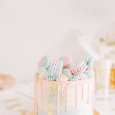 Gender Reveal Taart - Meringue