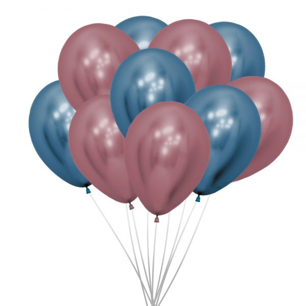 Ballonnen (10 st.) - Metallic, roze en blauw