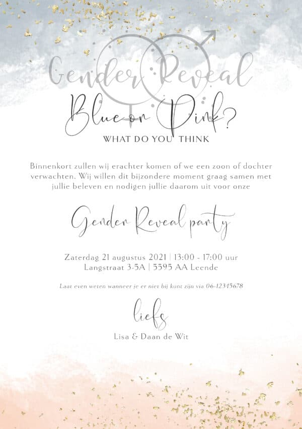 gender reveal uitnodiging